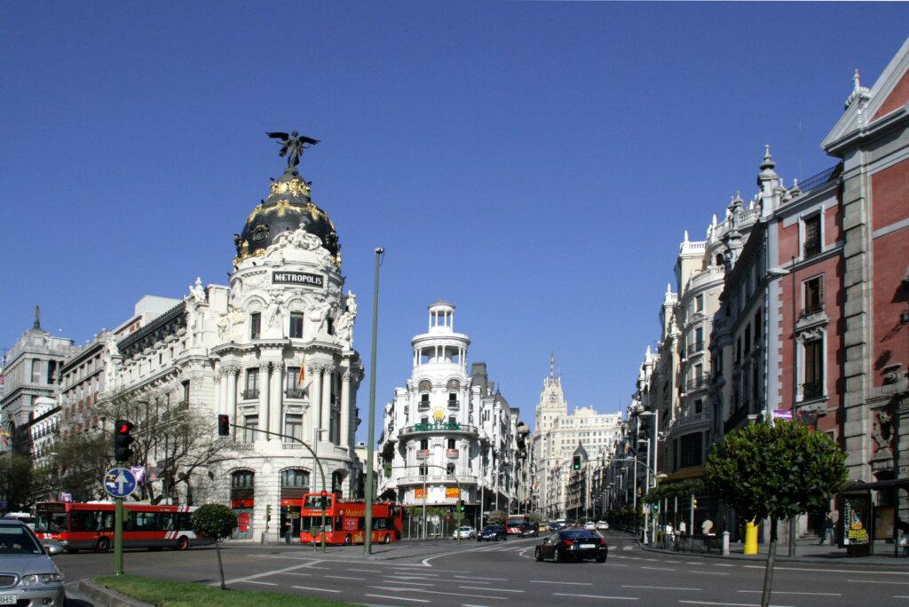 Centro de Madrid, na Espanha, com prédios